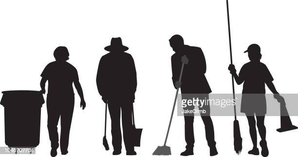 maintenance people silhouettes - dustpan stock illustrations, clip art, cartoons, & icons