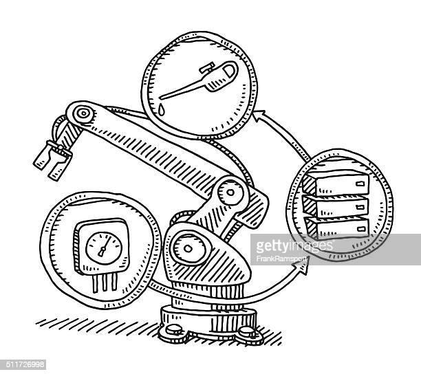 Maintenance Sensor On An Industry Robot Drawing