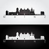 Mainz skyline and landmarks silhouette, black and white design, vector illustration.
