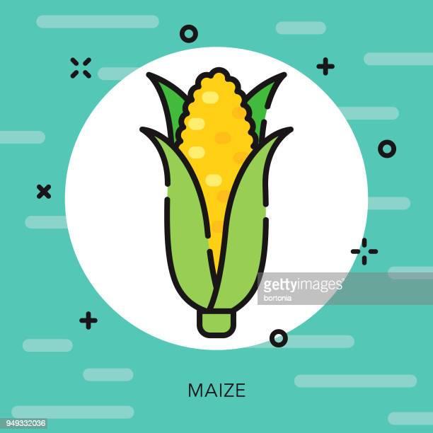 maize open outline cinco de mayo icon - husk stock illustrations, clip art, cartoons, & icons
