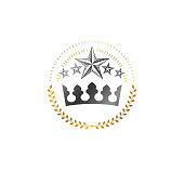 Majestic Crown emblem. Decorative Heraldic Coat of Arms isolated vector illustration. Ornate icon on white background.