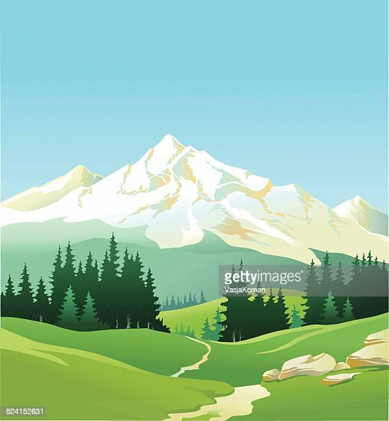 Majestic Mountain with Pine Forests