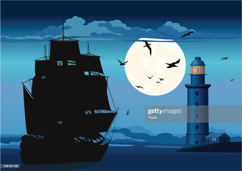 Majestic Pirate Sailing Ship and Lighthouse