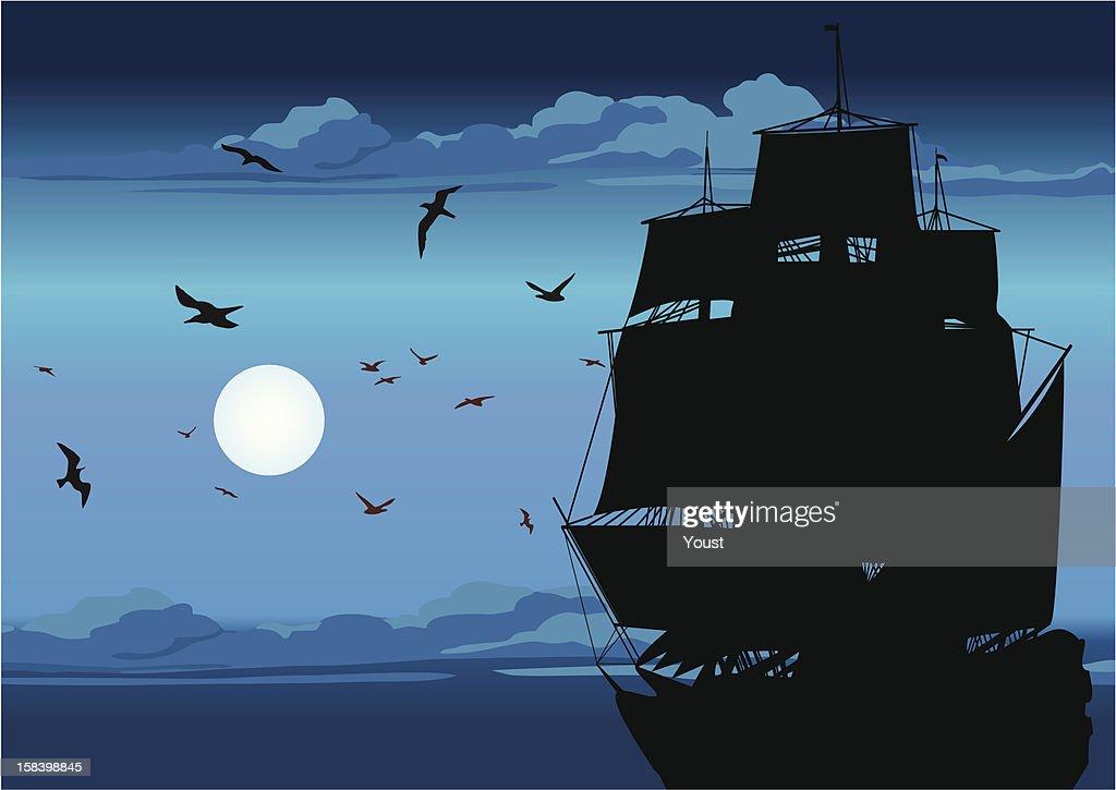 Majestic Pirate Sailing Ship at Sea : stock illustration