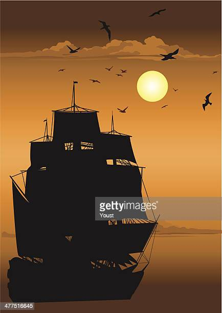 majestic pirate sailing ship at sea - pirate boat stock illustrations, clip art, cartoons, & icons