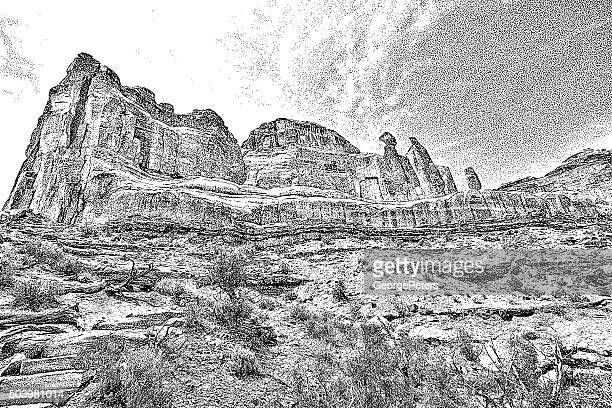 majestic rock formations in arches national park - utah stock illustrations, clip art, cartoons, & icons