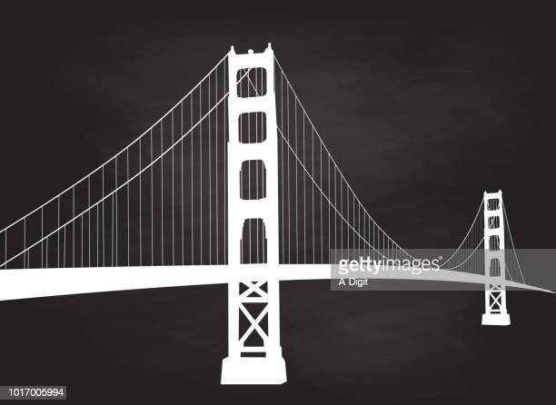 majestic suspension bridge chalk san francisco - golden gate bridge stock illustrations