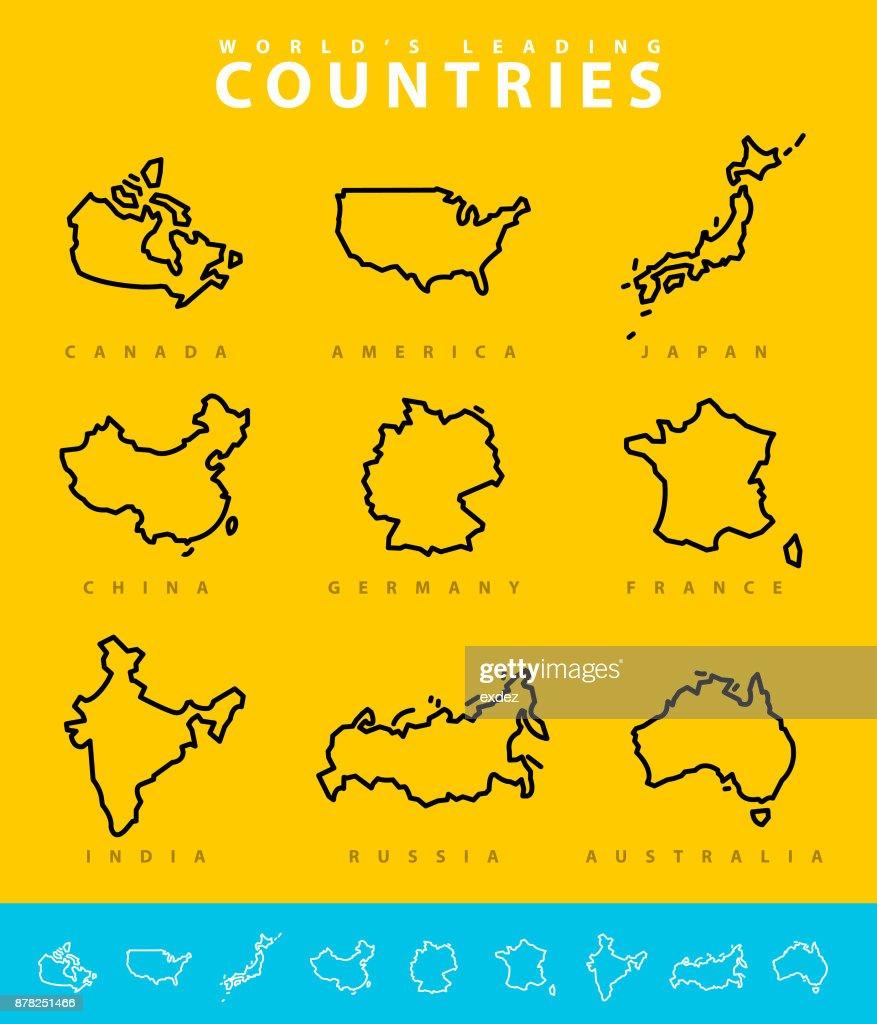 Major Countries map illustration : Stock Illustration