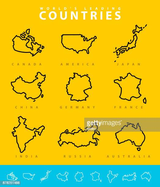 major countries map illustration - canada stock illustrations