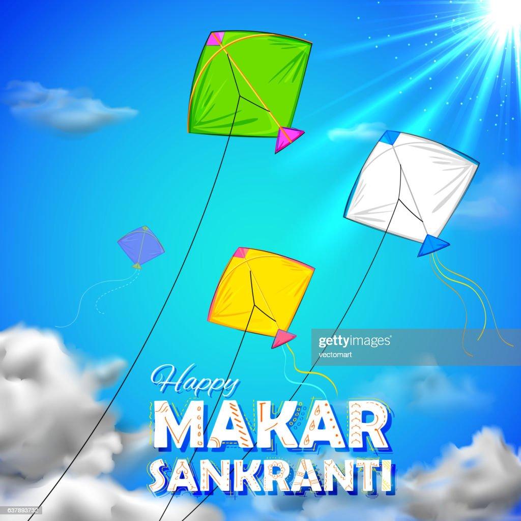 Makar Sankranti wallpaper with colorful kite for festival of India
