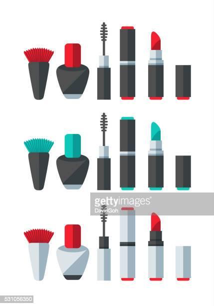 ilustraciones, imágenes clip art, dibujos animados e iconos de stock de completar juego de accesorios - pintalabios