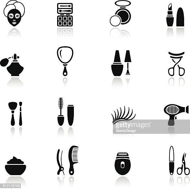 ilustraciones, imágenes clip art, dibujos animados e iconos de stock de completar grupo de iconos - maquillaje para ojos