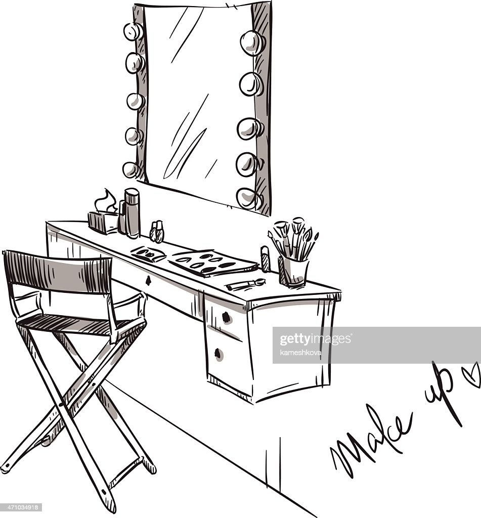 Make up. Vanity table and folding chair illustration.