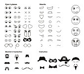 Make your own character emoji emoticon smiley. Vector elements to create thousands of facial expressions with dozens of eyes, mouths, facial hair and costumes.