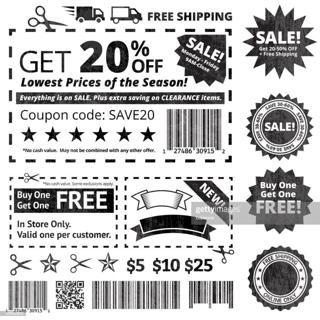 make your own coupon sale black and white icon set vector art