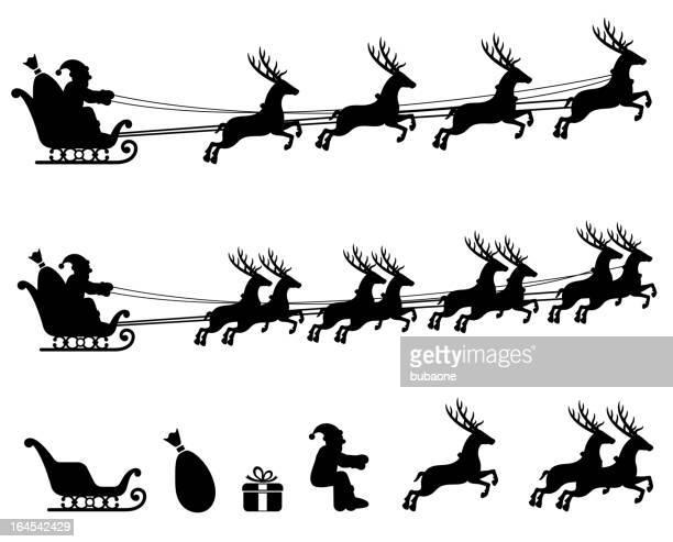 make your own santa sleigh black & white icon set. - sleigh stock illustrations