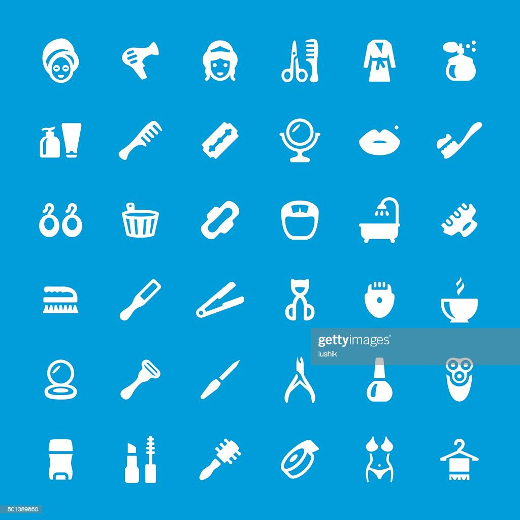 Makeup and Cosmetics related vector icon set