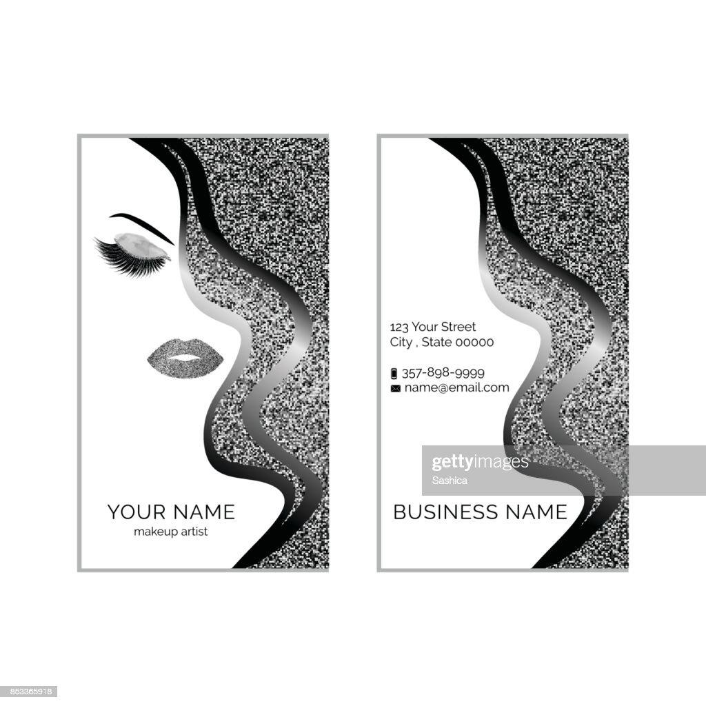 Modele Vectoriel De Maquillage Artiste Carte Visite Clipart
