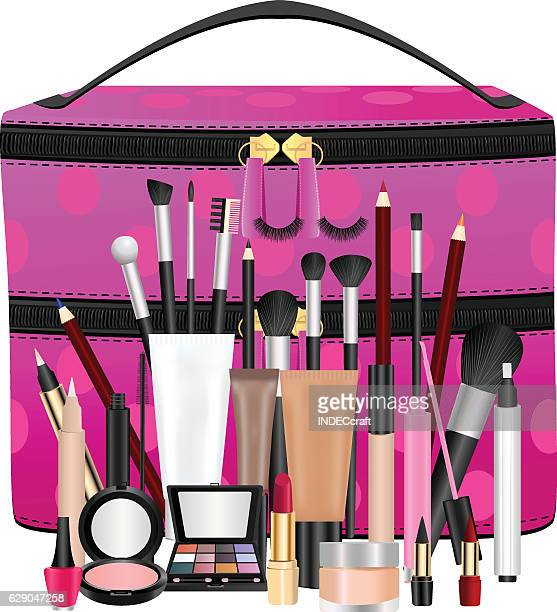 makeup bag with cosmetics - lip liner stock illustrations, clip art, cartoons, & icons
