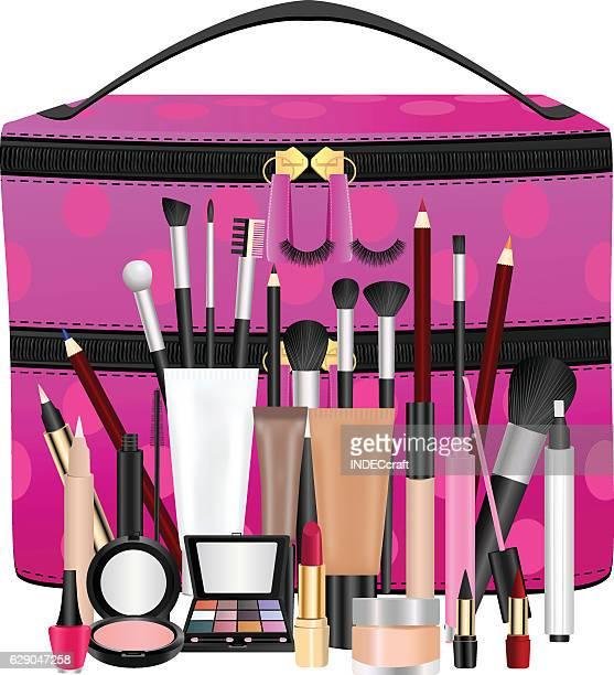 makeup bag with cosmetics - lip gloss stock illustrations, clip art, cartoons, & icons