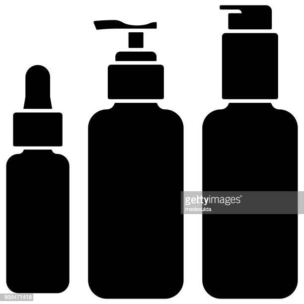 make-up bottle glass cosmetic icon pump cream clean beauty skin care - oil pump stock illustrations, clip art, cartoons, & icons