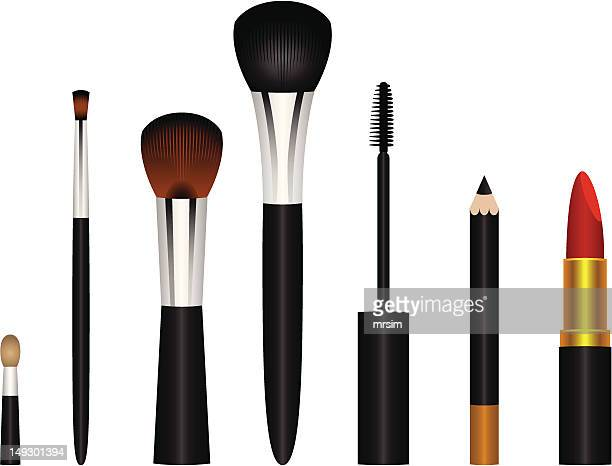 makeup brushes vector illustrations - eye make up stock illustrations