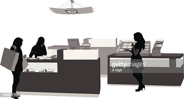make-up counter vector silhouette - checkout stock illustrations, clip art, cartoons, & icons