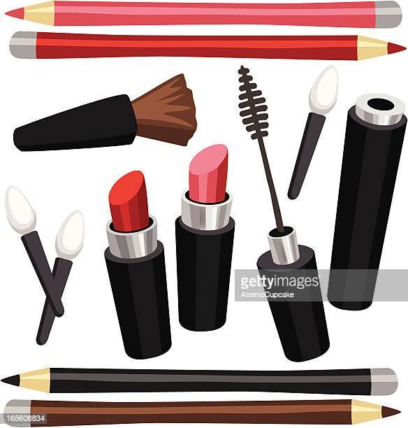 ilustraciones, imágenes clip art, dibujos animados e iconos de stock de maquillaje artículos: pintalabios, máscaras, delineador de ojos, aplicadores, lápices - maquillaje para ojos