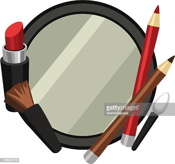 makeup mirror frame with eyelip pencils, cosmetics brush,  lipstick - lip liner stock illustrations, clip art, cartoons, & icons