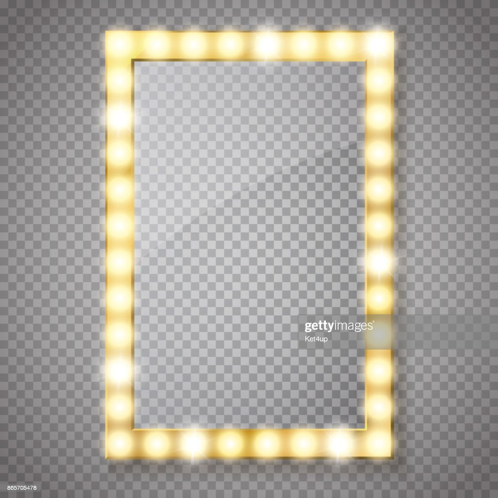 Makeup mirror isolated with gold lights. Vector