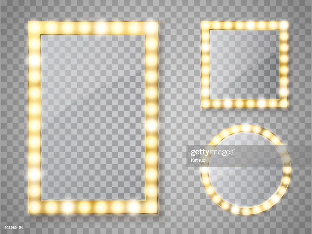 Makeup mirror isolated with lights. Vector square and round frames