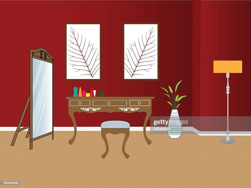 Makeup room interior vector illustration