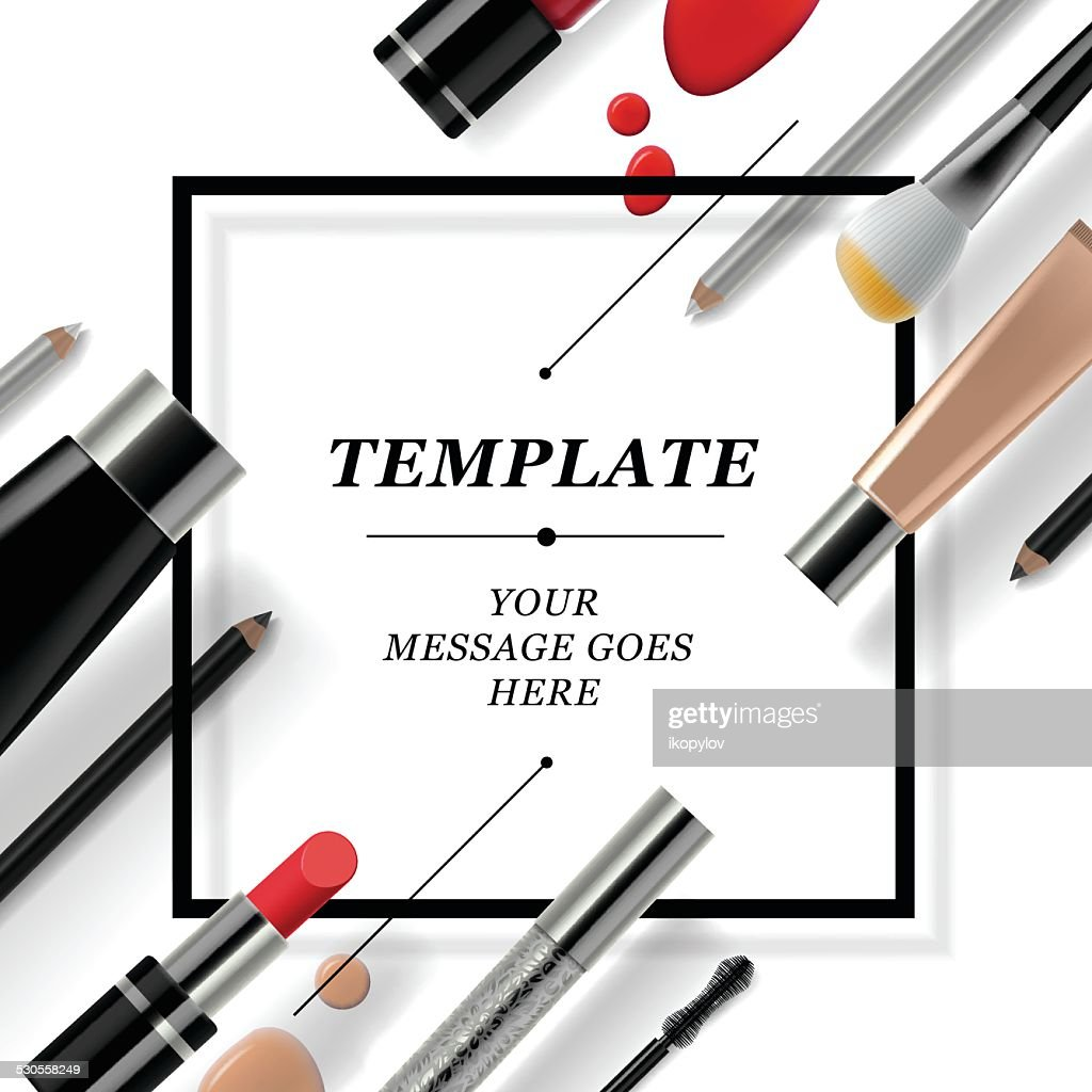 Makeup template with collection of make up cosmetics and accessories