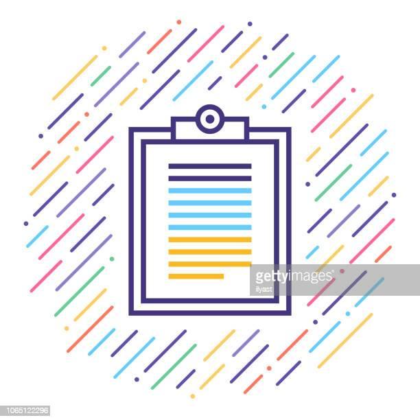 ilustrações, clipart, desenhos animados e ícones de fazer uma lista de verificação linha icon ilustração - preencher um formulário