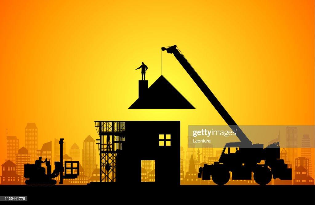 新しい家を作る : ストックイラストレーション