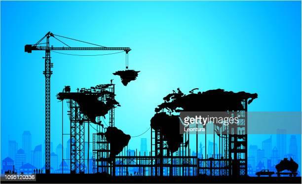 making a new world - handel treiben stock-grafiken, -clipart, -cartoons und -symbole