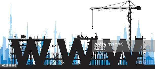 ilustrações, clipart, desenhos animados e ícones de fazer um site - www
