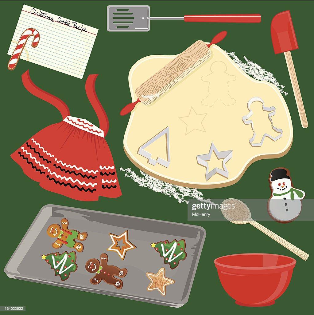 Weihnachtsplätzchen Clipart.Herstellung Und Backen Weihnachtsplätzchen Stock Illustration