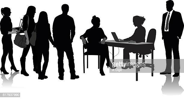 making business arrangements - job interview stock illustrations, clip art, cartoons, & icons
