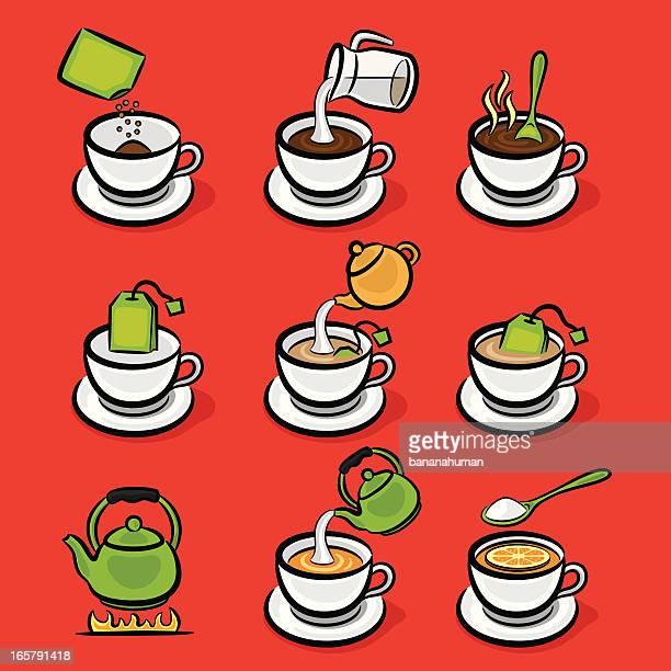 making coffee and tea - green tea stock illustrations, clip art, cartoons, & icons