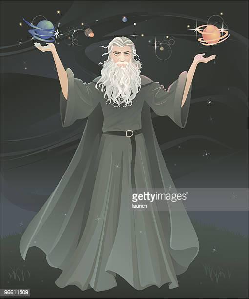 making magic - wizard stock illustrations