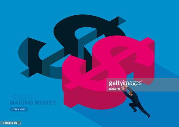 Making money business concept, businessman pushing huge dollar sign to fill the pit