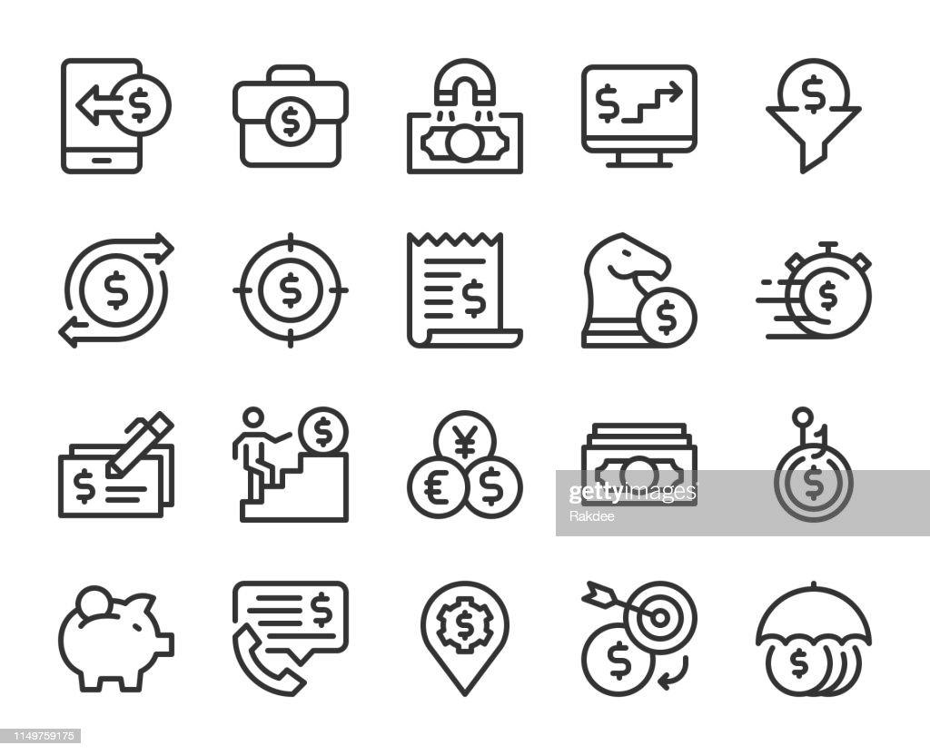 Making Money - Line Icons : stock illustration