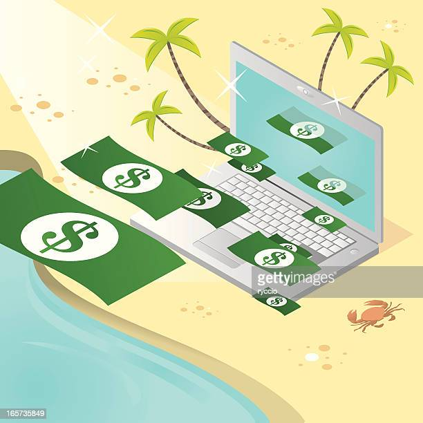 making money on vacation with laptop - emitting stock illustrations, clip art, cartoons, & icons