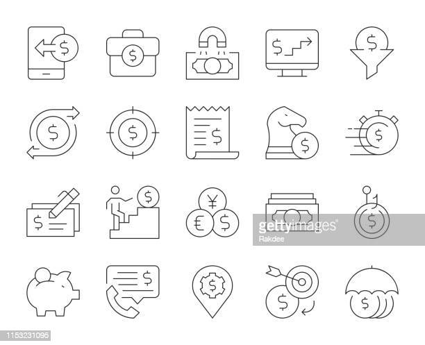 making money - thin line icons - fund manager stock illustrations, clip art, cartoons, & icons