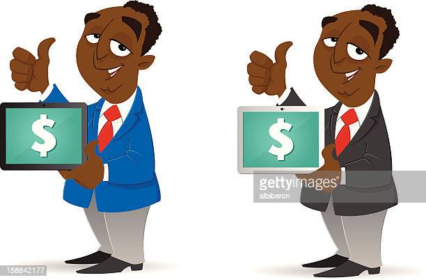 making money with his tablet - online advertising stock illustrations, clip art, cartoons, & icons