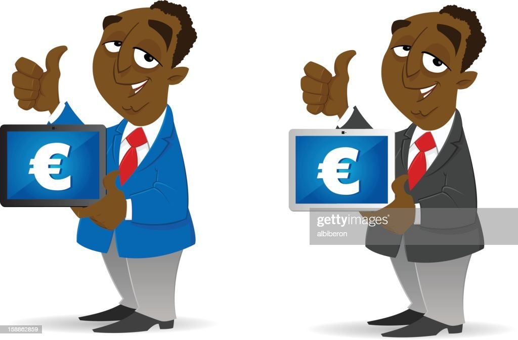 Making Money with his Tablet : stock illustration