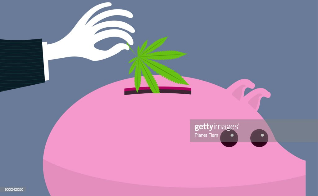 Making money with legalized weed : stock illustration