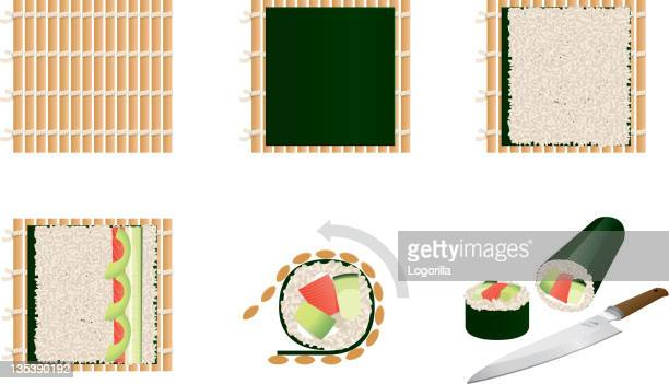 making sushi - steps - nori stock illustrations