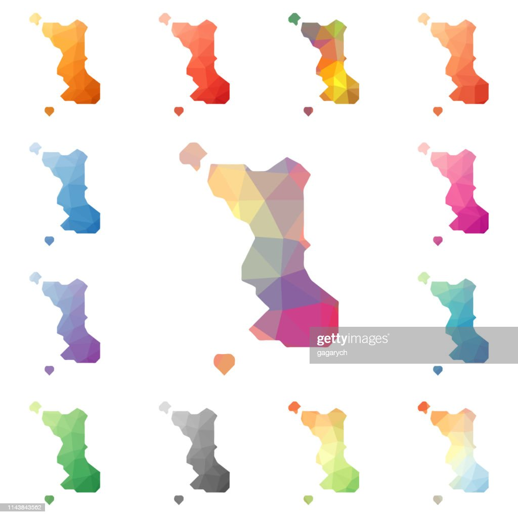 Malapascua Island geometric polygonal, mosaic style island maps collection.